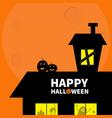 happy halloween haunted house roof attic loft vector image vector image