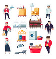 hotel services concept and staff collection of vector image vector image