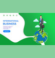 international business collaboration man on globe vector image