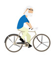 isolated old man riding a bicycle vector image vector image