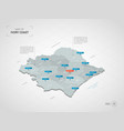 isometric ivory coast map with city names and vector image vector image