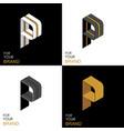 isometric set letter p black white gold palette vector image