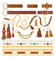 leather elements fabric decoration for clothes vector image