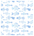 Light blue colors hand drawn fishes pattern vector image