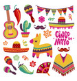 mexican fiesta set cinco de mayo party elements vector image