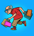 modern old man with shopping vector image