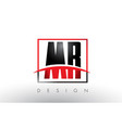 mr m r logo letters with red and black colors and vector image vector image