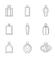 perfume bottle icon set outline style vector image vector image