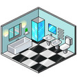 pixel art isometric bathroom detailed vector image vector image