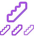 Purple line stair logo design set vector image vector image