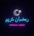 ramadan kareem neon calligraphy with white vector image vector image