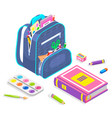 school chancery backpack with notebook vector image vector image