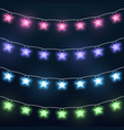 set colorful star garlands vector image vector image