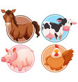 set of farm animals in circle background vector image vector image