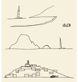 Set sketches Ibiza landscapes vector image vector image