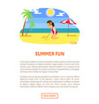 summer fun girl sits and draws stick on beach vector image vector image