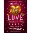 Valentines party flyer design with gold heart bow vector image vector image