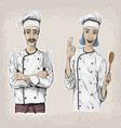 woman and men caucasian cook chef worker in chefs vector image