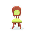wooden chair with green upholstery interior vector image vector image