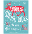 reindeer sleigh rides retro poster vector image