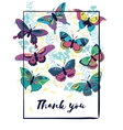 Thank you card with butterflies vector image