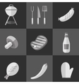 Barbecue grill black and white icons set vector image