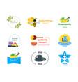 cartoon alternative medicine badges or labels set vector image
