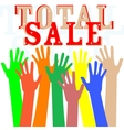 Hand with total sale word isolated in white vector image