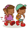 African american children walk to school