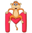 Alphabet M with monkey cartoon vector image vector image