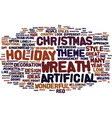 artificial christmas wreath text background word vector image vector image