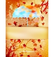 Autumn background with umbrella and leaves EPS 10 vector image