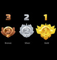 awards medals gold silver and bronze for gui game vector image vector image