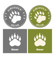 bear paw print circle logo design concept vector image vector image