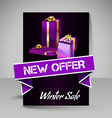 Brochure Design Template with Purple Christmas vector image
