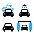 Car wash icons black and blue set vector image