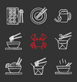 chinese food chalk icons set vector image vector image
