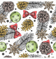 christmas holiday hand drawing seamless pattern vector image