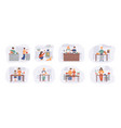 collection cartoon smiling people cooking on vector image vector image