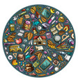 colorful hand drawn set of school cartoon vector image vector image