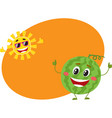 cute funny watermelon and sun characters hot vector image vector image