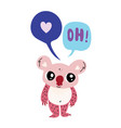 cute little koala with two speech bubble vector image vector image