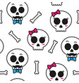 cute sugar skull boy and girl seamless pattern vector image