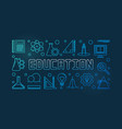 education concept blue outline banner or vector image