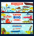 fishing banner with fisherman fish rod and hook vector image vector image