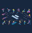 fitness equipment isometric flowchart vector image