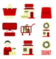 flat icons set shop vector image vector image
