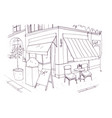 freehand drawing of european sidewalk cafe or vector image vector image