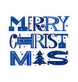fun merry christmas modern letter type card design vector image vector image
