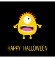 Happy Halloween greeting card Yellow monster with vector image vector image